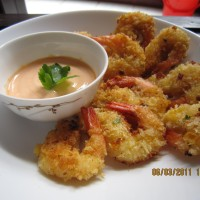 Fried Prawns with Breadcrumbs mixture and Spicy mayonnaise sauce