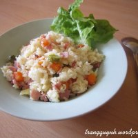 Ham Fried Rice with Carrot and Pickled Cucumber