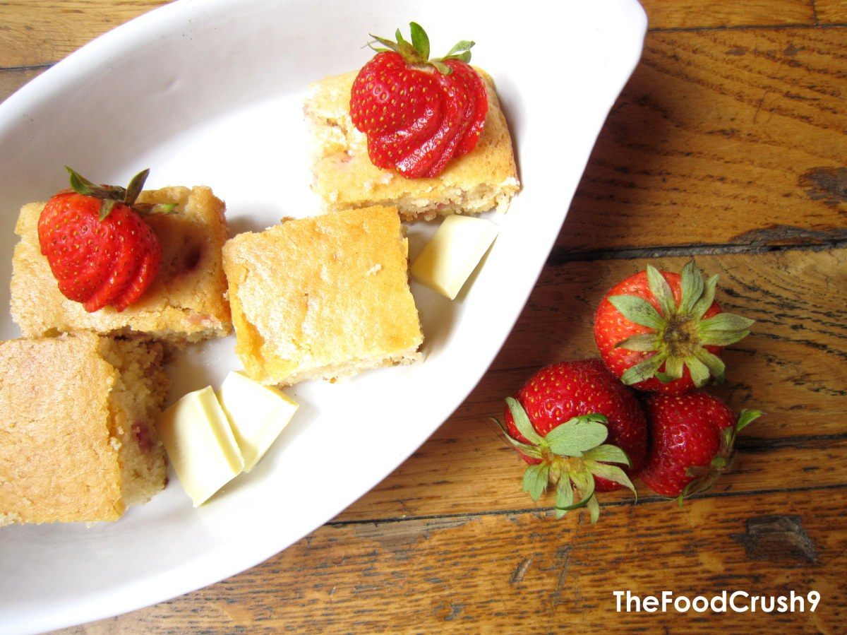 Strawberry and White Chocolate Blondies